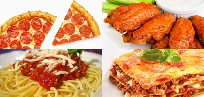Pizza Spaghetti Lasagna Buffalo Wings